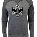 "Dubuque Fighting Saints Womens Crew Sweatshirt ""Raglan"""