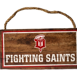 "Dubuque Fighting Saints Novelty ""Wood Rope Sign"""